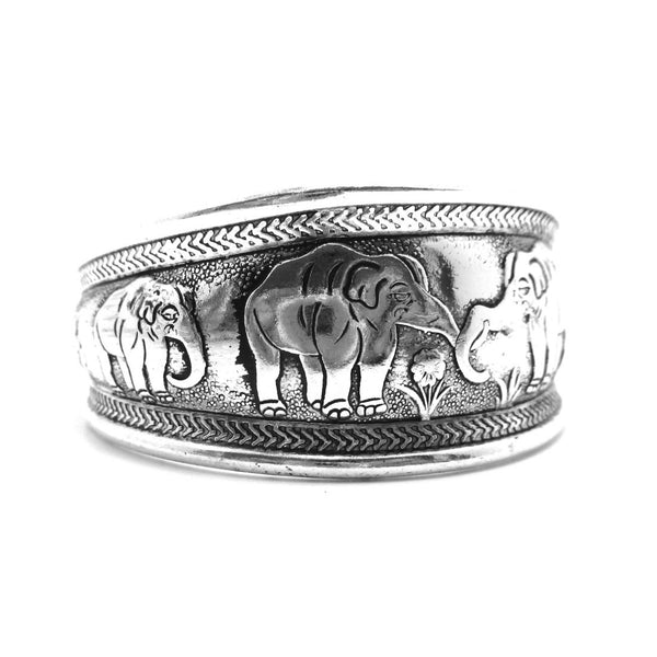 Elephant Print Tribal Bangle Cuff Bracelet in Silver | Animal Jewelry