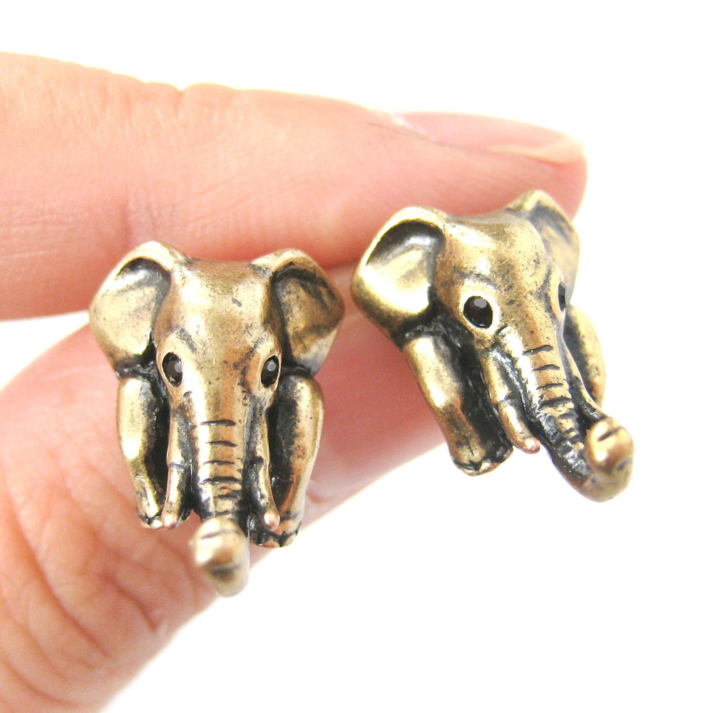 elephant-realistic-animal-stud-earrings-in-brass-animal-jewelry