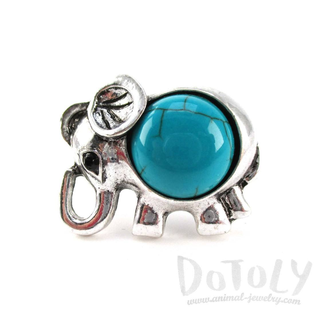 Elephant Shaped Animal Ring in Silver with Turquoise Stone | DOTOLY