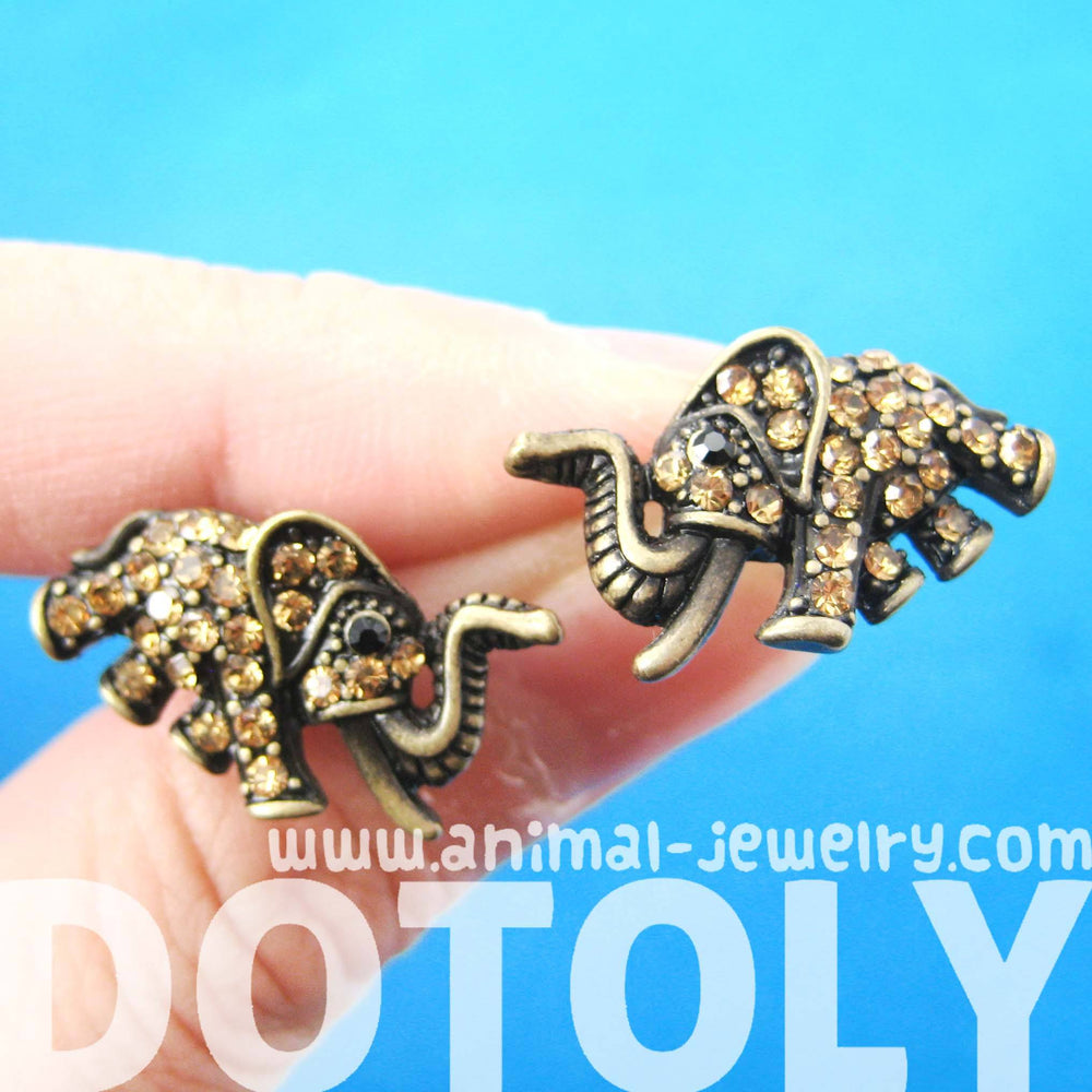 elephant-shaped-animal-stud-earrings-in-brass-with-rhinestones-dotoly