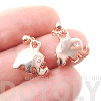 Elephant Shaped Animal Themed Dangle Drop Stud Earrings in Rose Gold