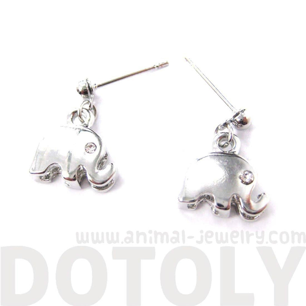 Elephant Shaped Animal Themed Dangle Drop Stud Earrings in Silver