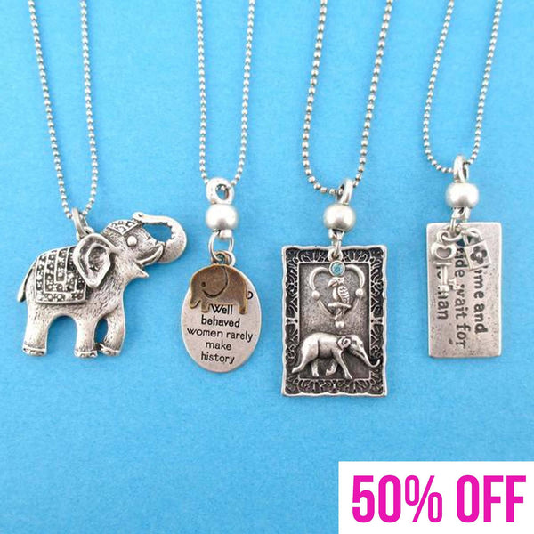 Elephant Themed 4 Piece Necklace Bundle Set in Silver | Animal Jewelry