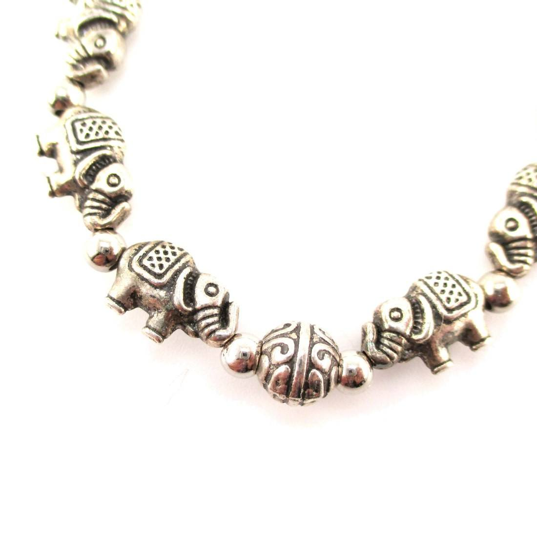 Elephants Beads Shaped Charm Bracelet in Silver | Animal Jewelry