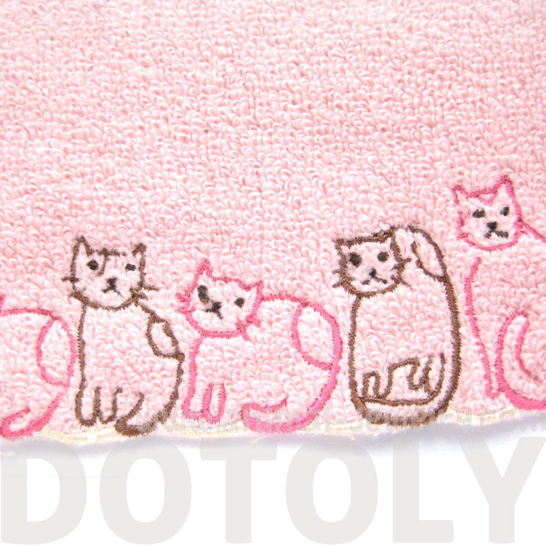Cat Themed Kitchen Towels: Embroidered Kitty Cat Animal Themed Handkerchief Face