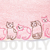 Embroidered Kitty Cat Animal Themed Handkerchief Face Towel in Pink