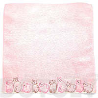 Embroidered Kitty Cat Animal Themed Handkerchief Face Towel in Pink | Japan