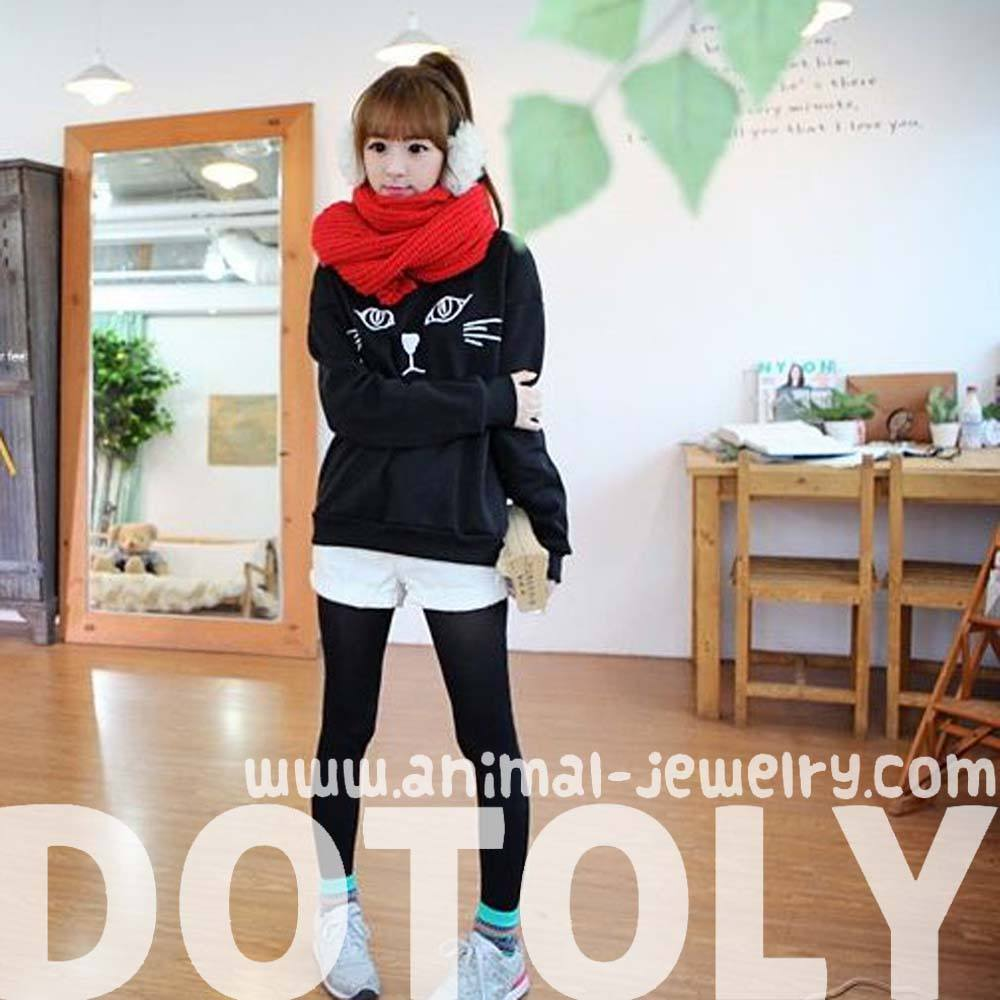 Adorable Kitty Cat Face Long Sleeve Pullover Sweatshirt Sweater for Women in Black | DOTOLY
