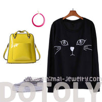 Embroidered Kitty Cat Face Long Sleeve Pullover Sweater Jumper Top