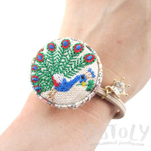 Embroidered Peacock Bird Floral Print Button Hair Tie