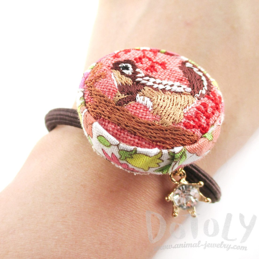 Embroidered Squirrel Floral Print Button Hair Tie