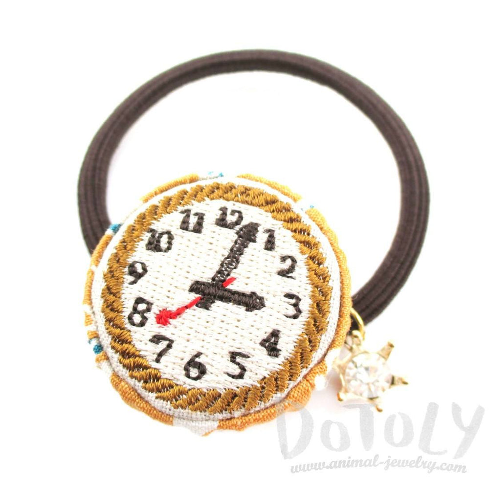 Embroidered Time Watch Face Button Hair Tie | DOTOLY