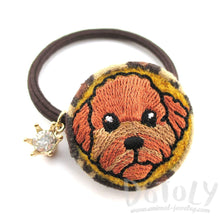 Embroidered Toy Poodle Animal Print Button Hair Tie
