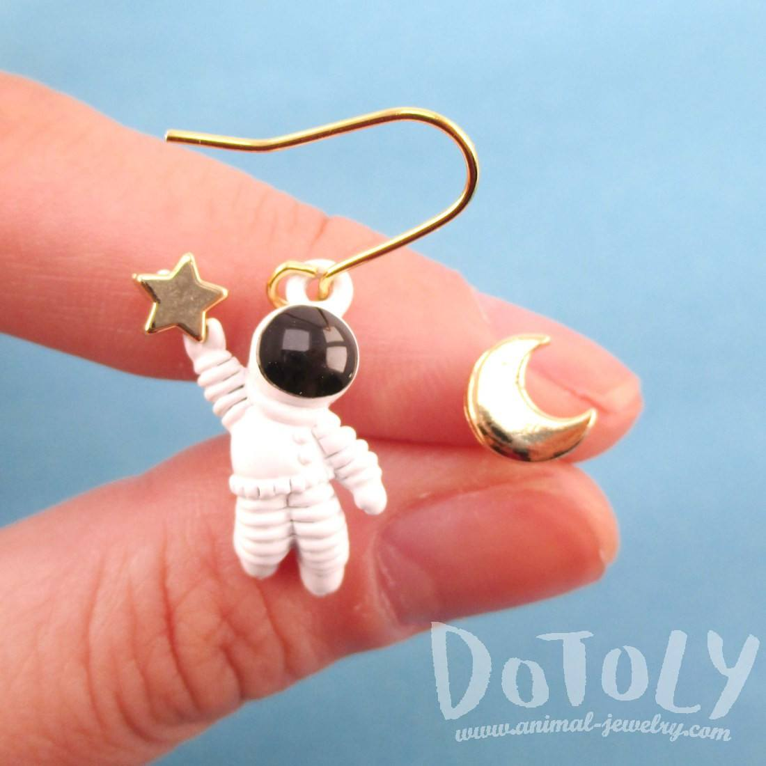 Enamel Astronaut and Crescent Moon Shaped Space Themed Earrings