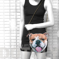 English Bulldog Face Shaped Animal Theme Vinyl Cross Body Shoulder Bag