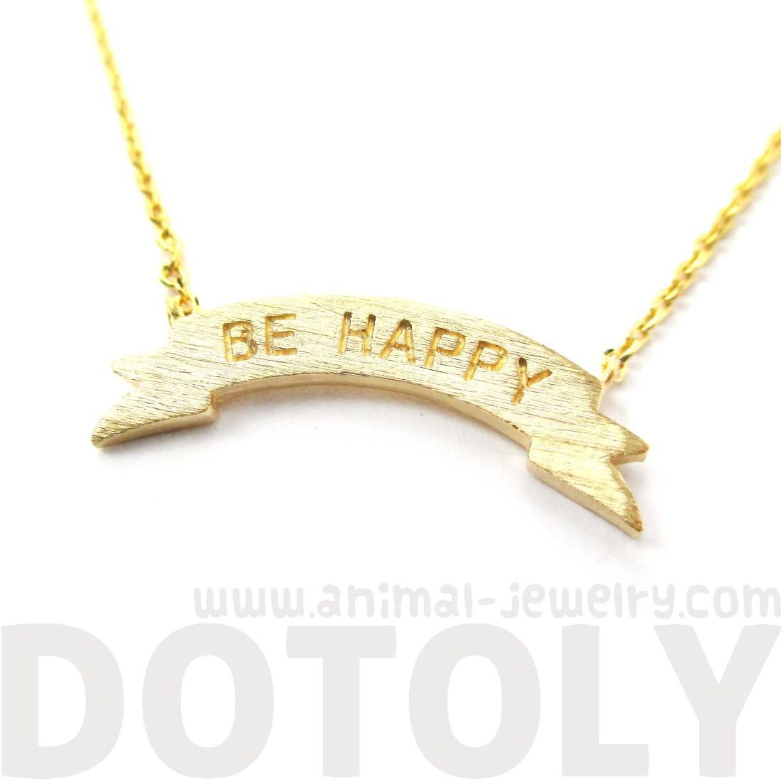 Engraved Be Happy Mini Banner Bar Motivational Charm Necklace in Gold