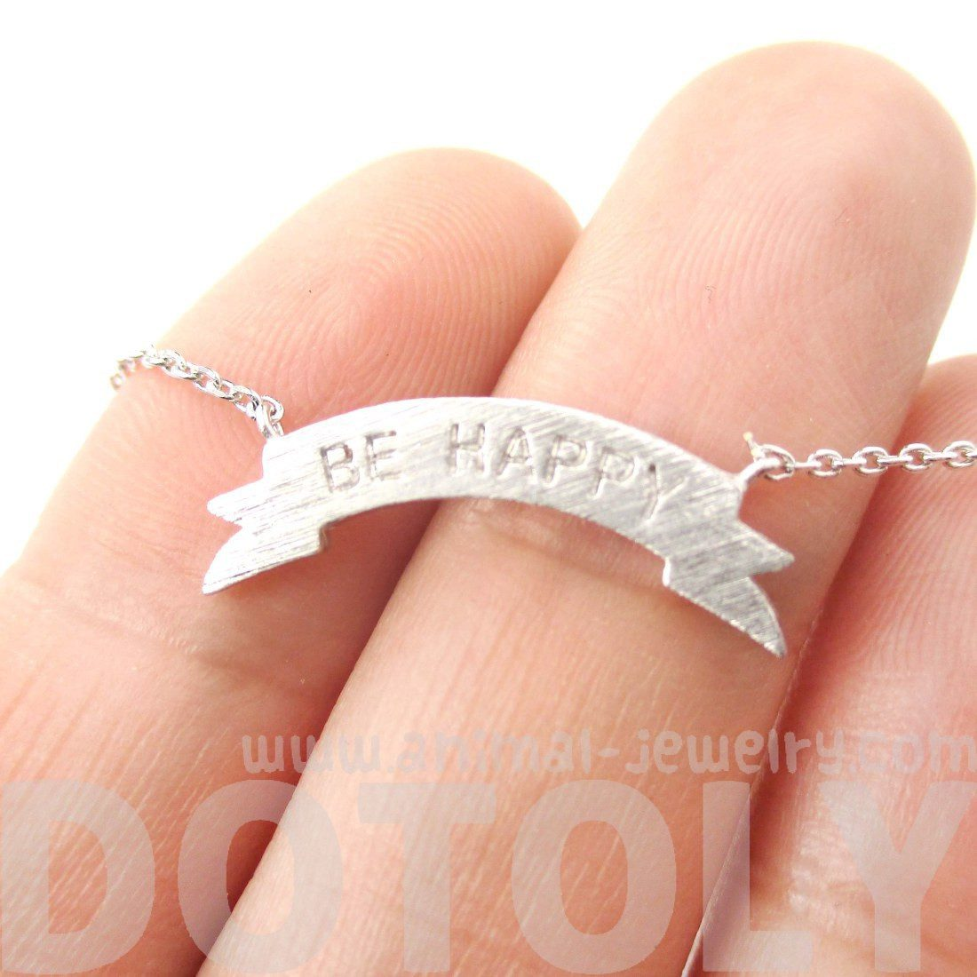 Engraved Be Happy Mini Banner Bar Motivational Charm Necklace in Silver
