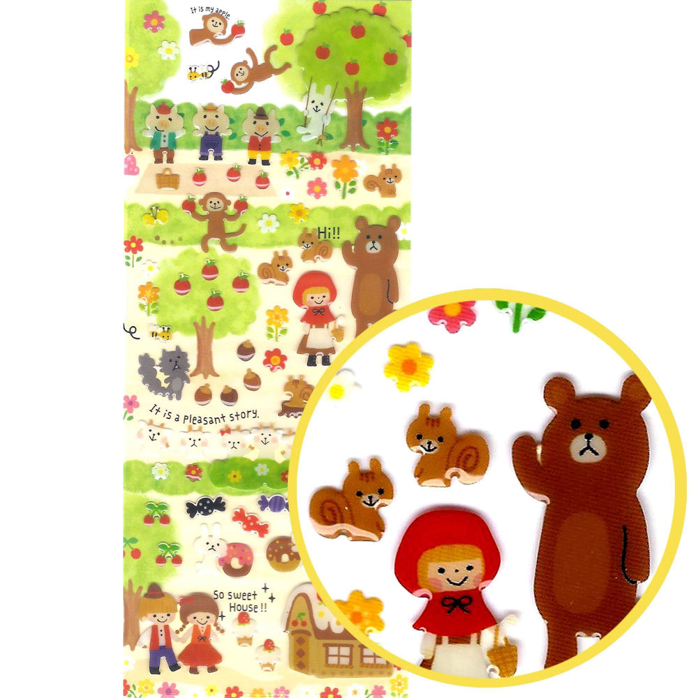 Fairy Tale Animal Themed Riding Hood Jelly Stickers for Scrapbooking