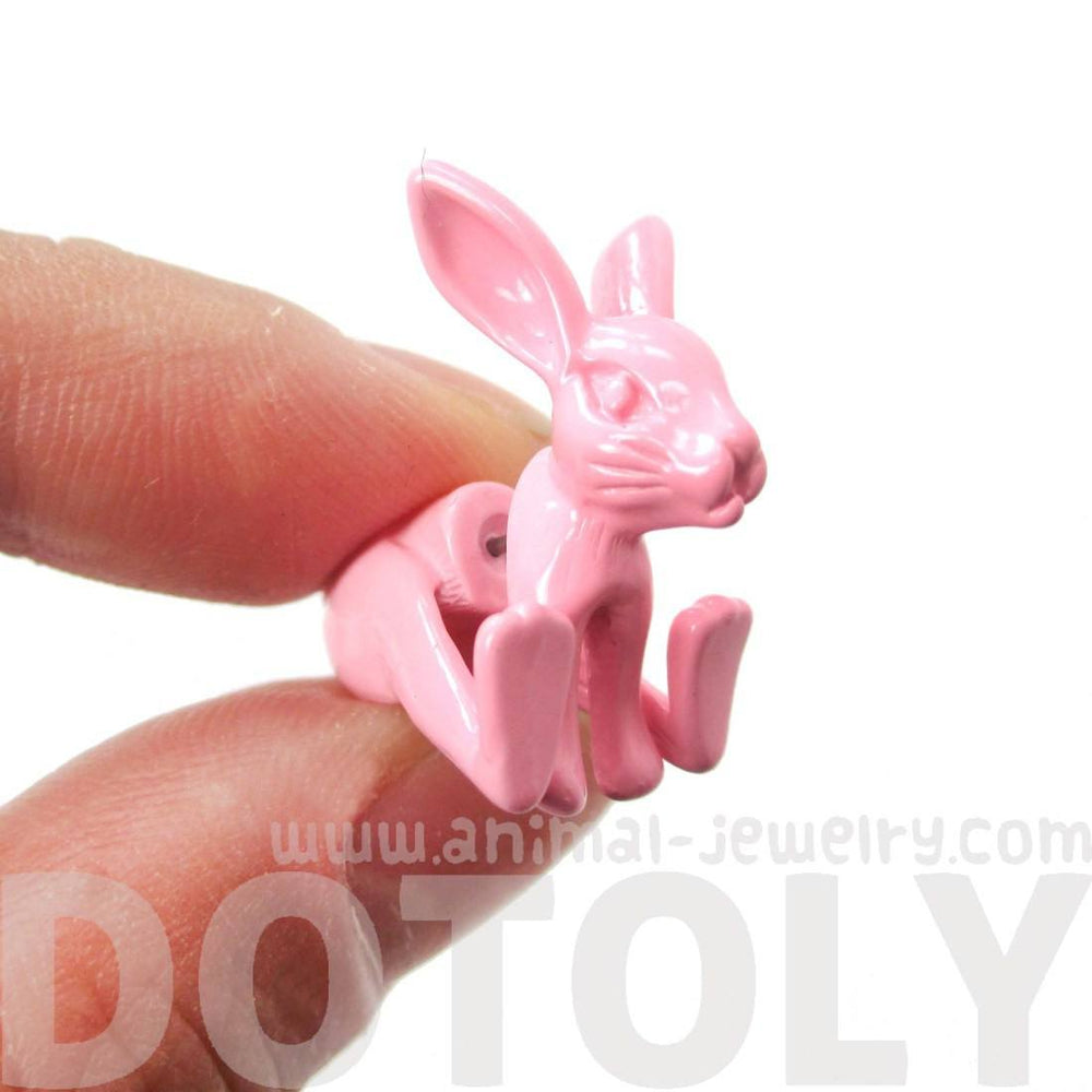 Realistic Bunny Rabbit Shaped Front and Back Stud Earrings in Pink