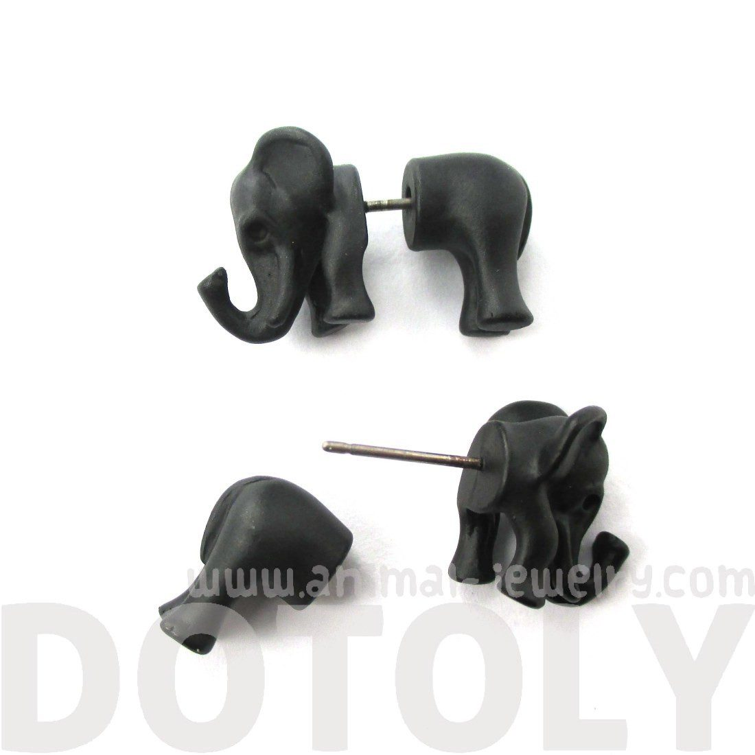 3D Elephant Shaped Animal Front and Back Stud Earrings in Black