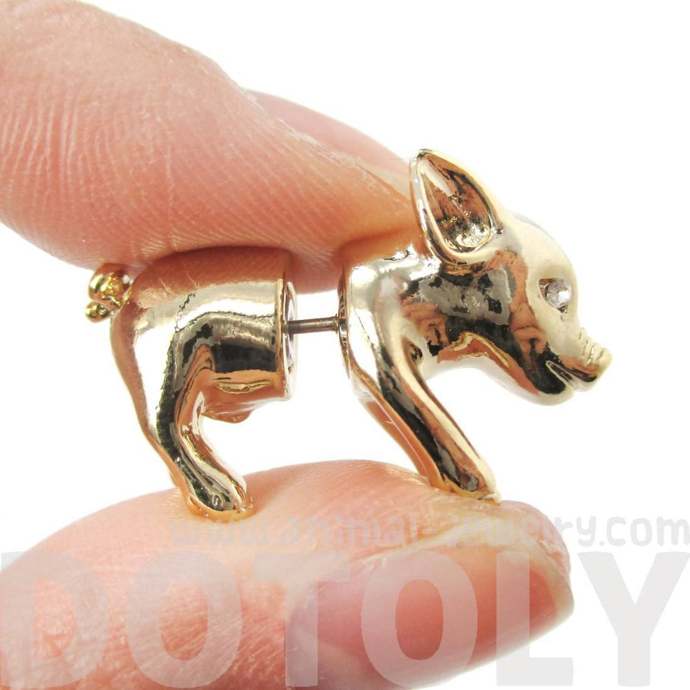 3D Piglet Shaped Animal Front & Back Two Part Earrings in Shiny Gold