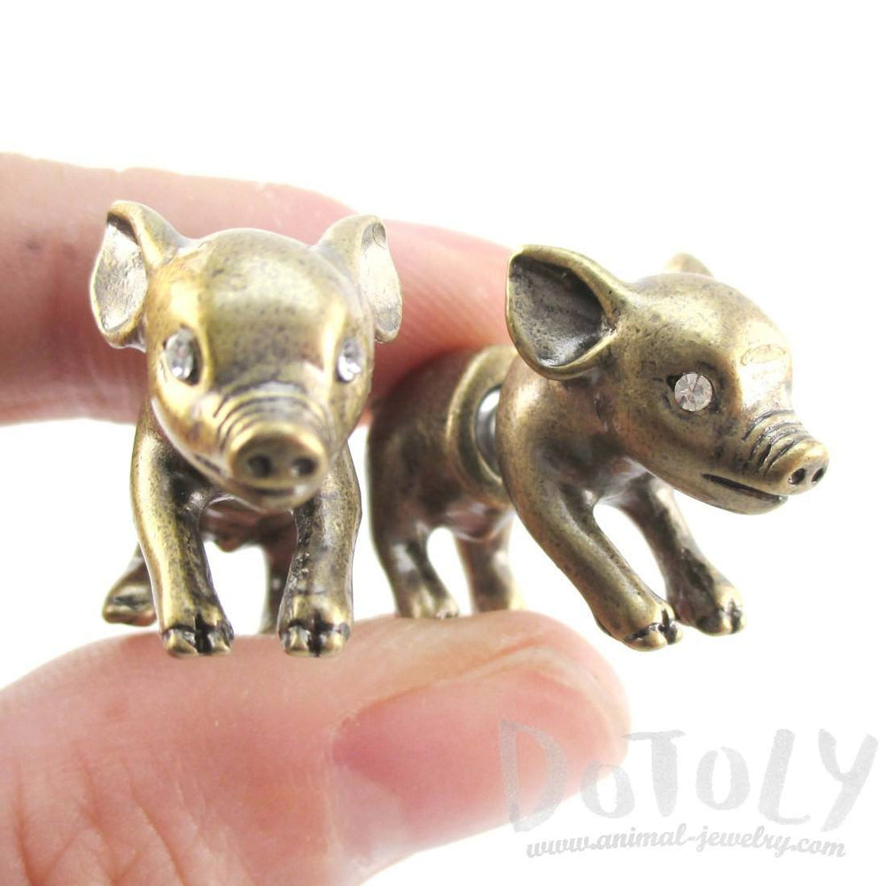 3D Piglet Pig Shaped Front and Back Earrings in Brass