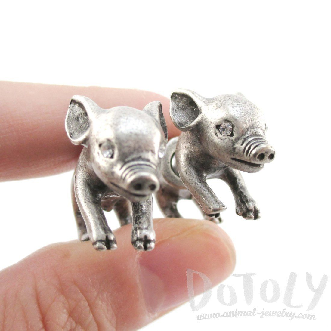 3D Piglet Pig Shaped Front and Back Earrings in Silver