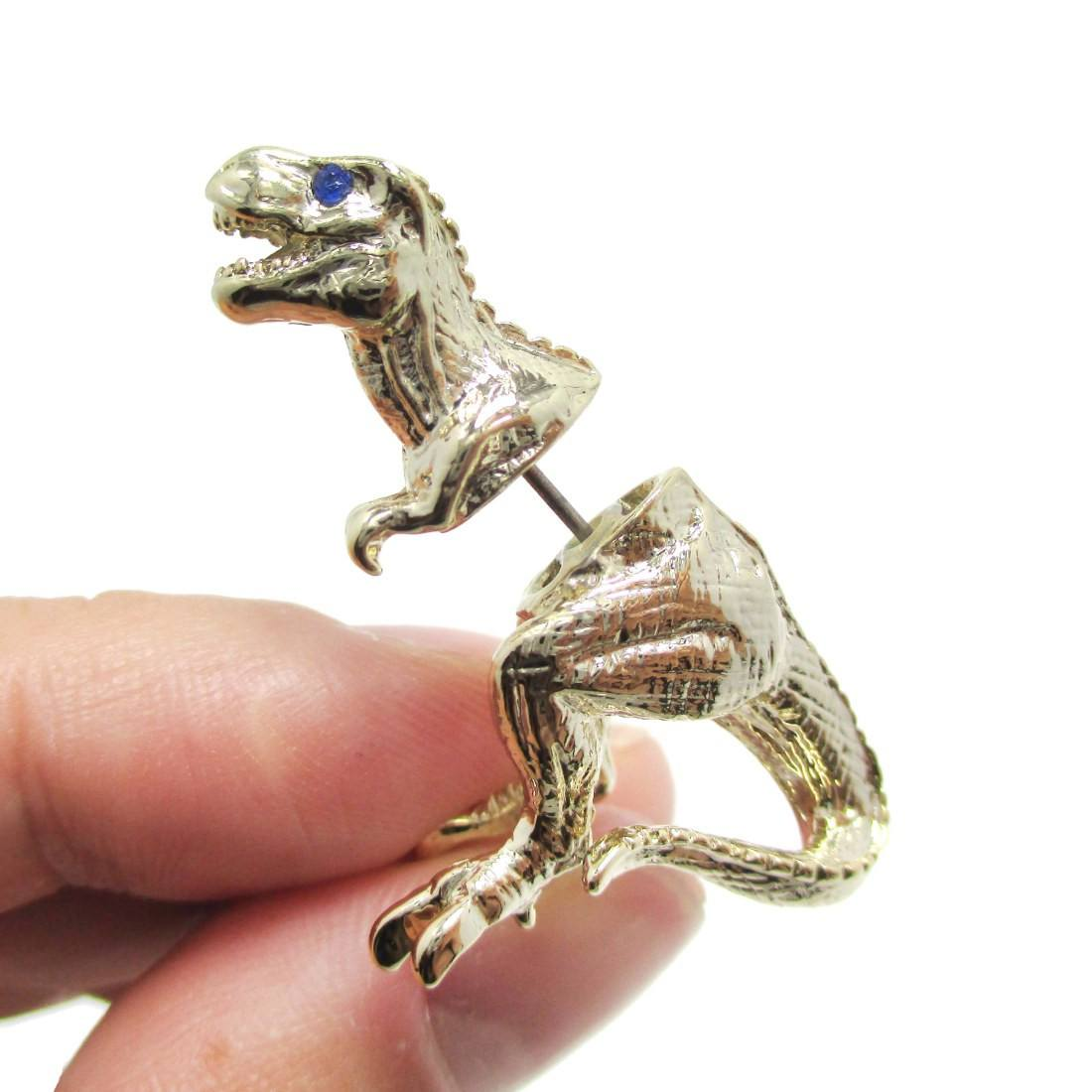 T-Rex Dinosaur Shaped Front Back Stud Earrings in Gold