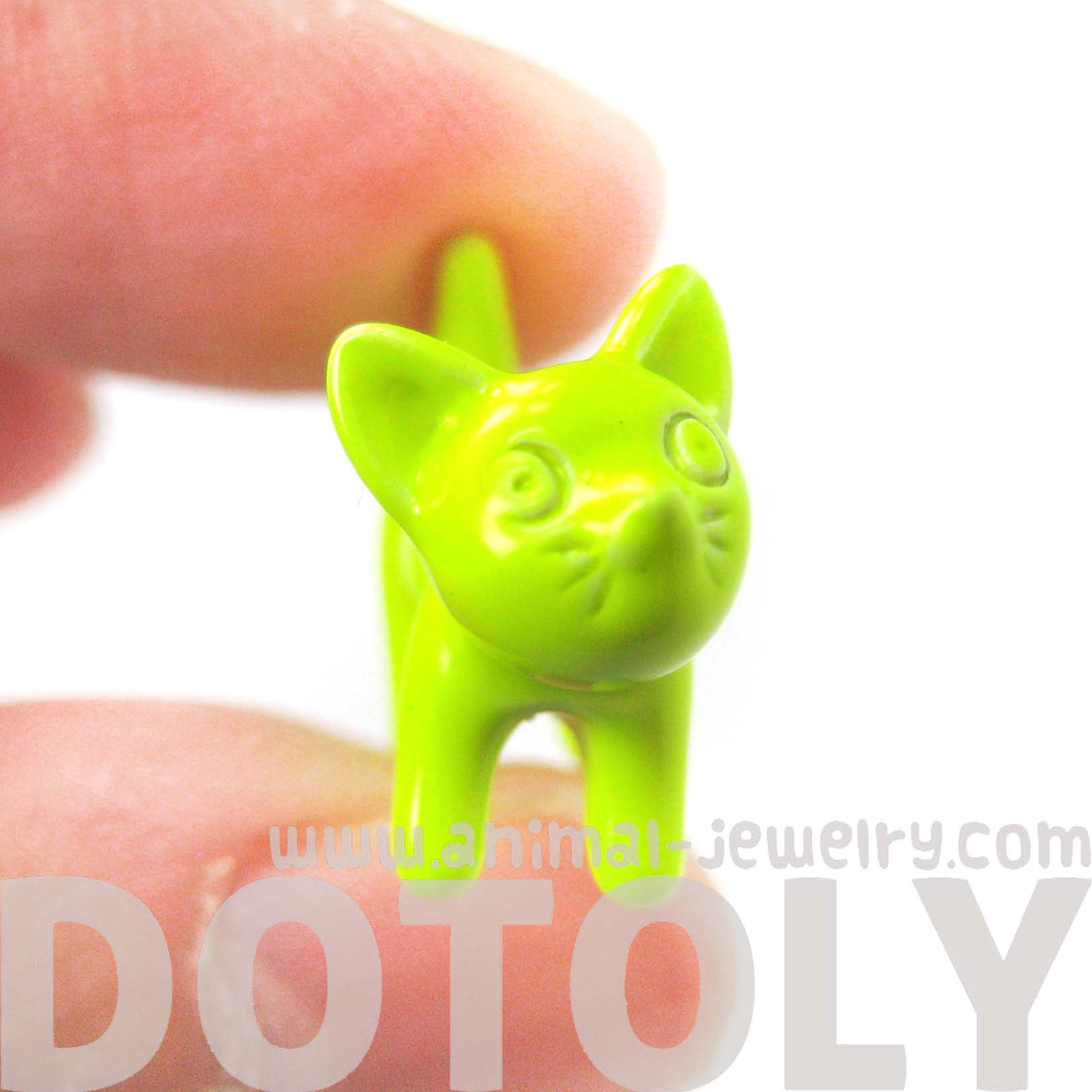 fake-gauge-earrings-adorable-kitty-cat-animal-plug-earrings-in-neon-yellow