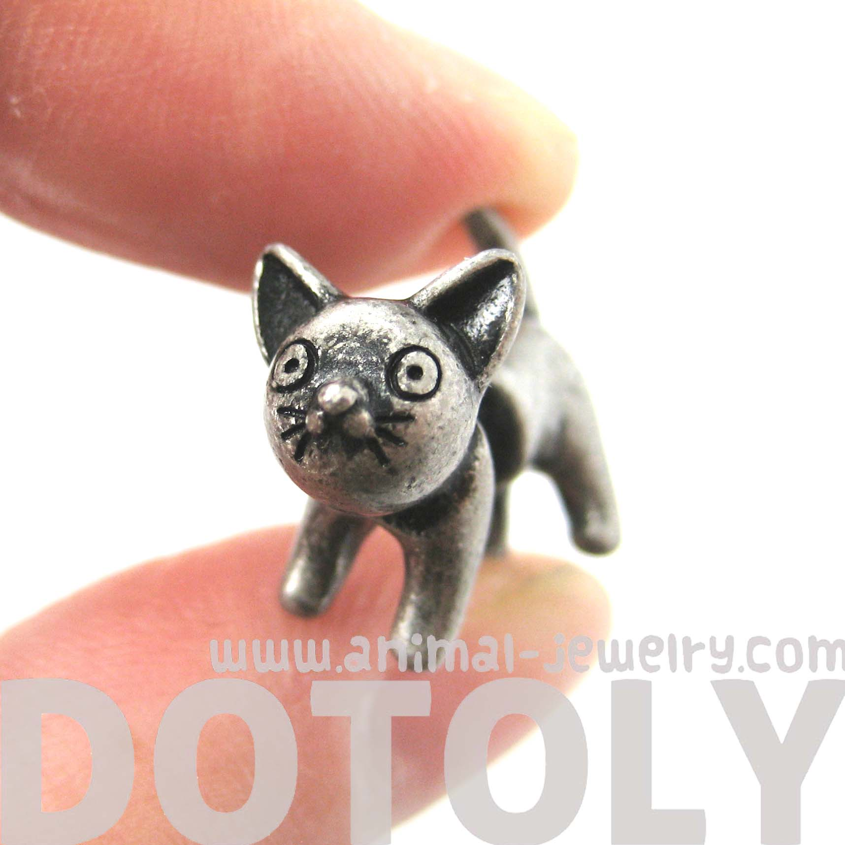 fake-gauge-earrings-adorable-kitty-cat-animal-plug-earrings-in-silver
