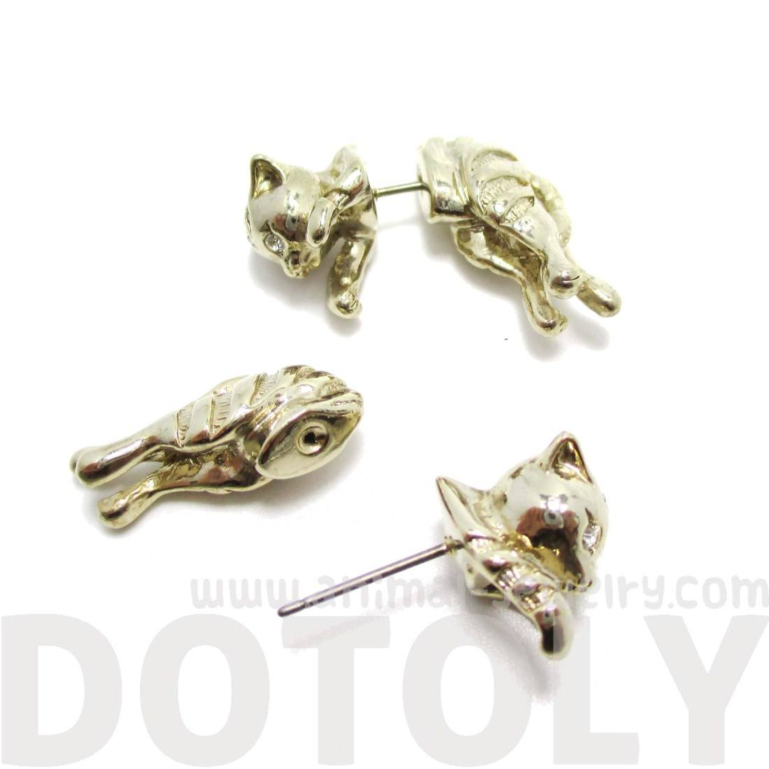 Kitty Cat Shaped Front and Back Stud Earrings in Gold