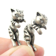 Cute Kitty Cat Shaped Animal Themed Fake Gauge Stud Earrings in Silver