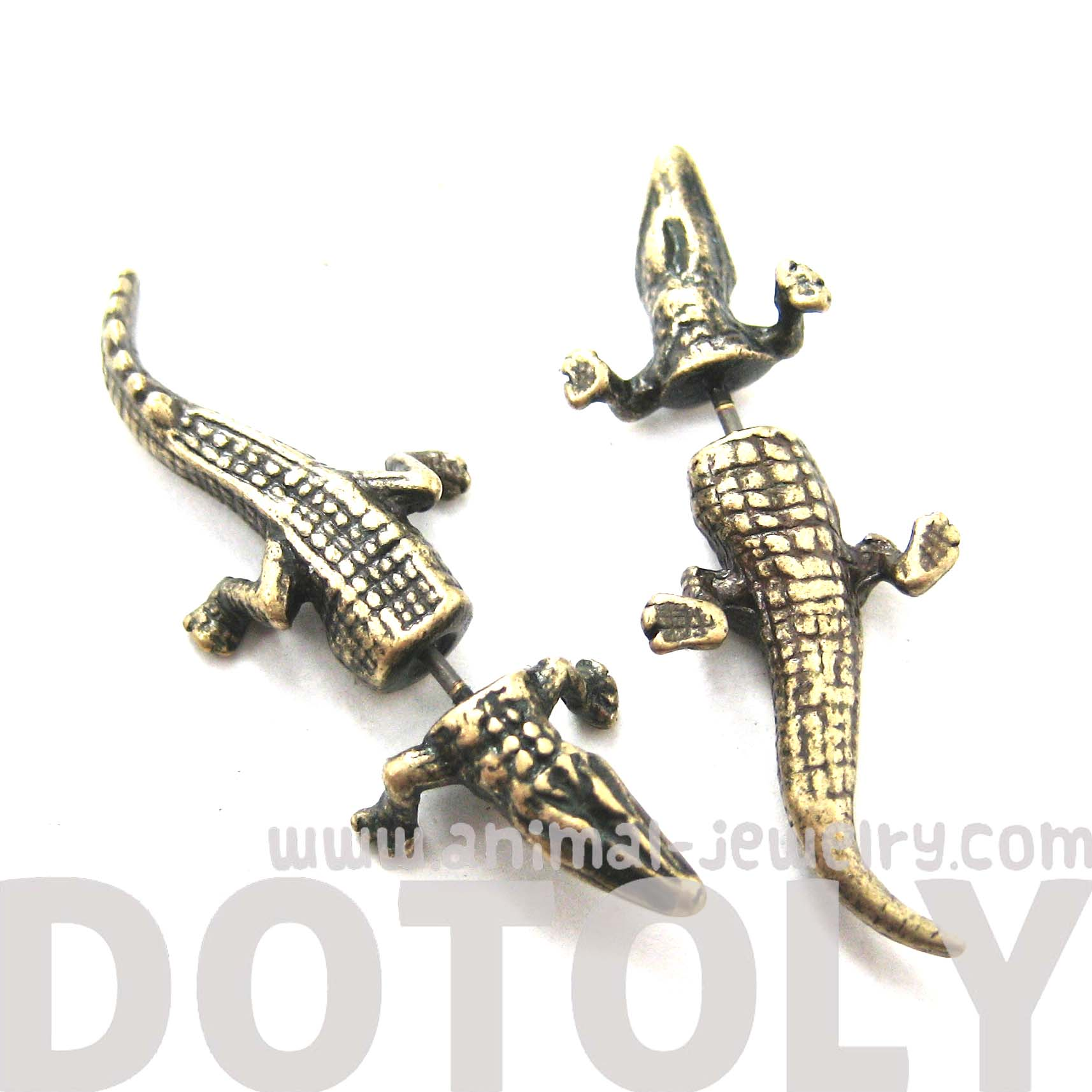 fake-gauge-earrings-alligator-crocodile-animal-shaped-stud-plug-earrings-in-brass