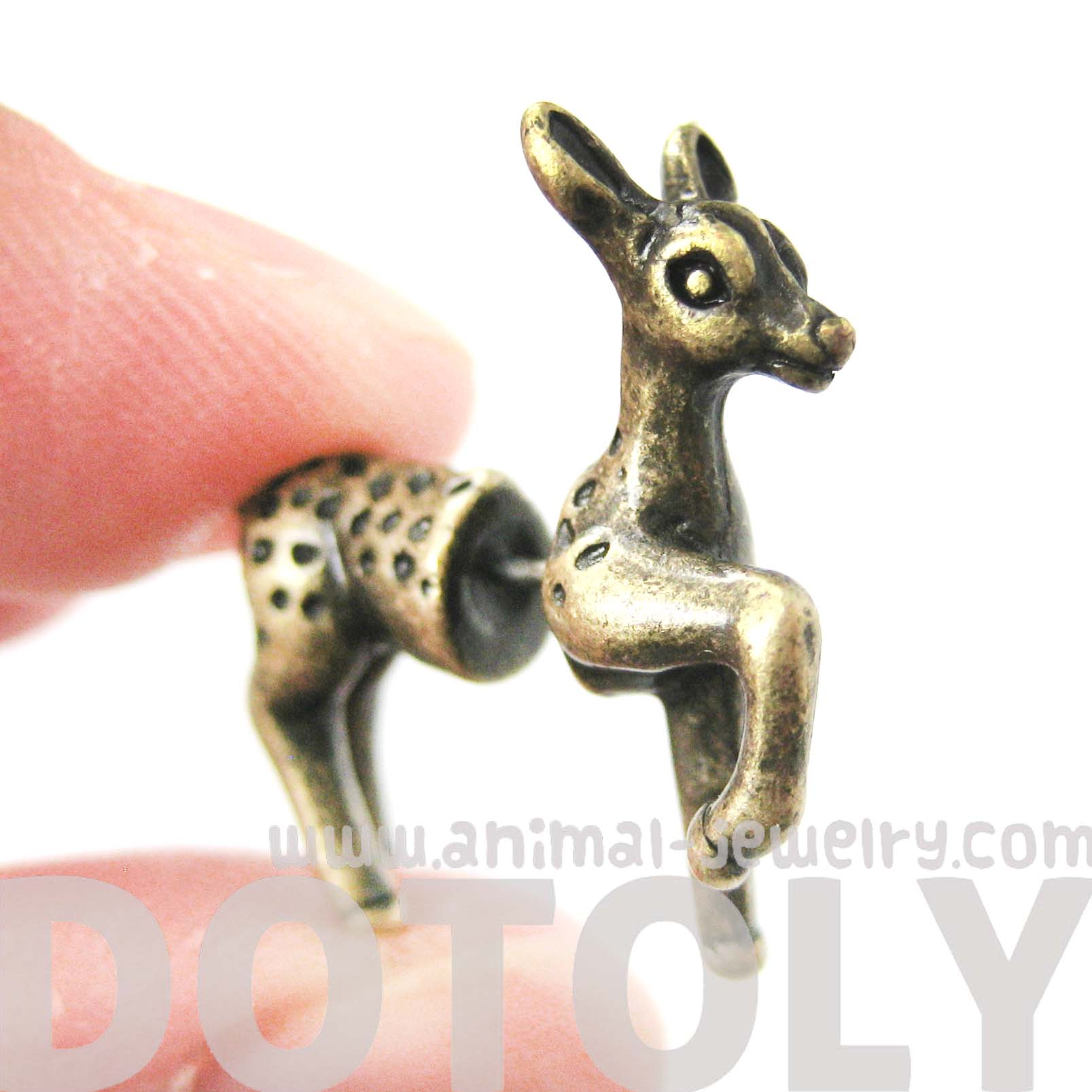 fake-gauge-earrings-bambi-deer-animal-faux-plug-earrings-in-brass