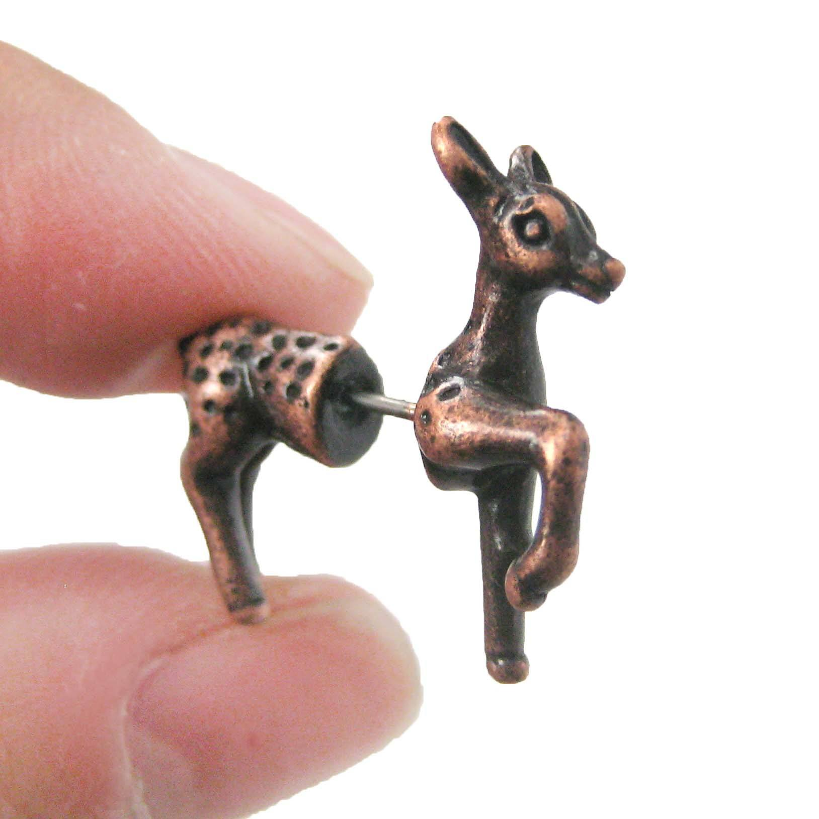 Fake Gauge Earrings: Bambi Deer Animal Faux Plug Earrings in Copper