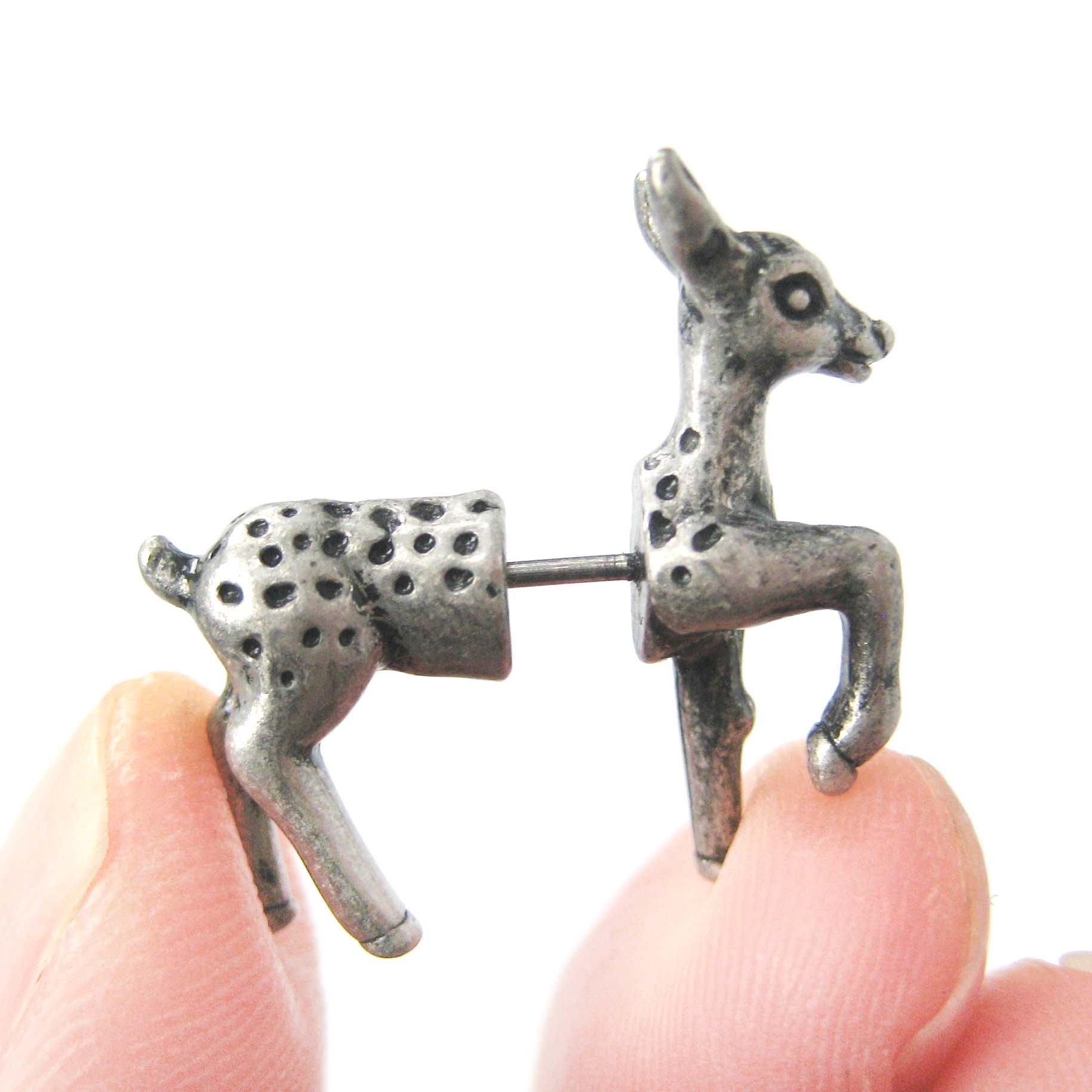 fake-gauge-earrings-bambi-deer-animal-faux-plug-earrings-in-silver