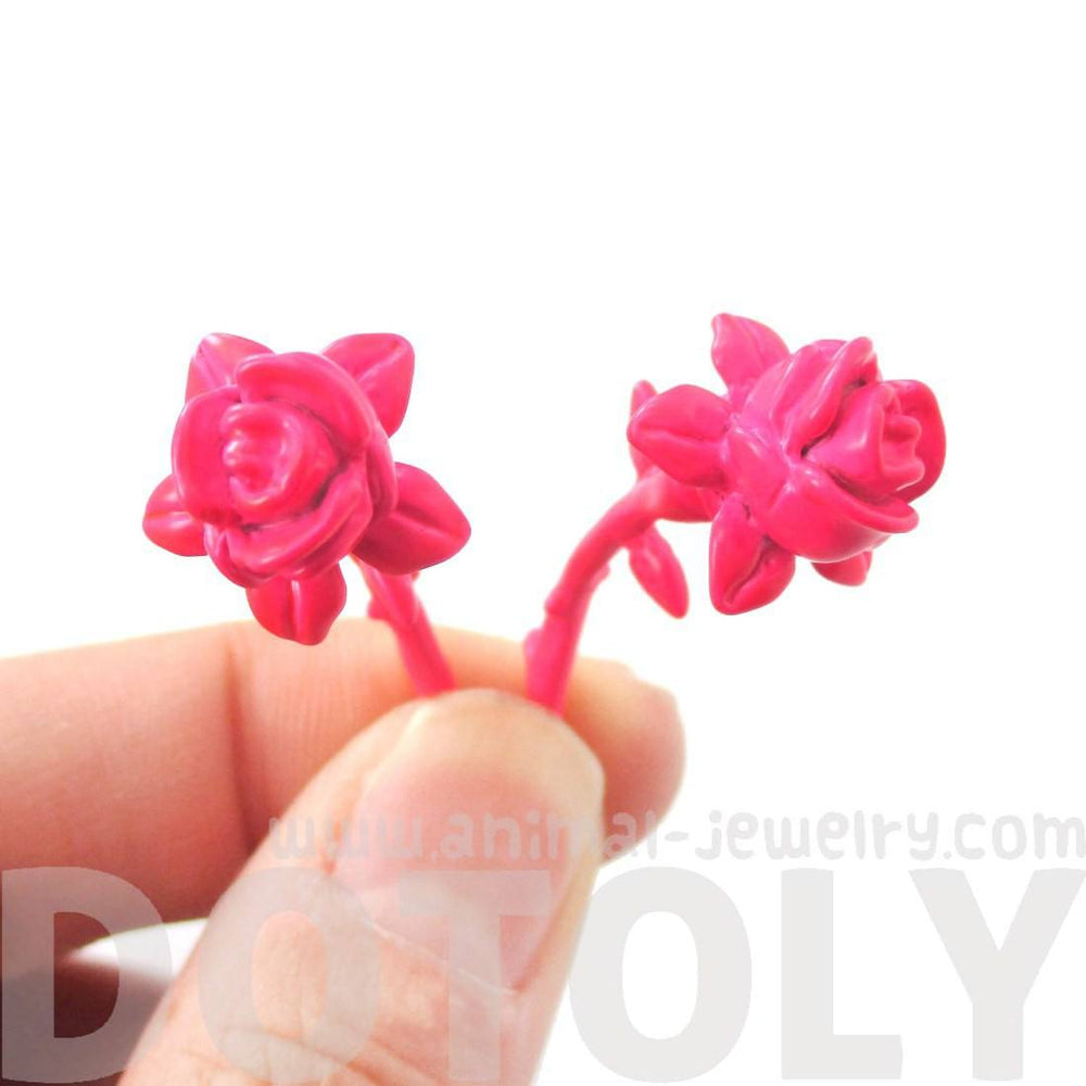 3D Rose Floral Flower Shaped Front and Back Stud Earrings in Pink