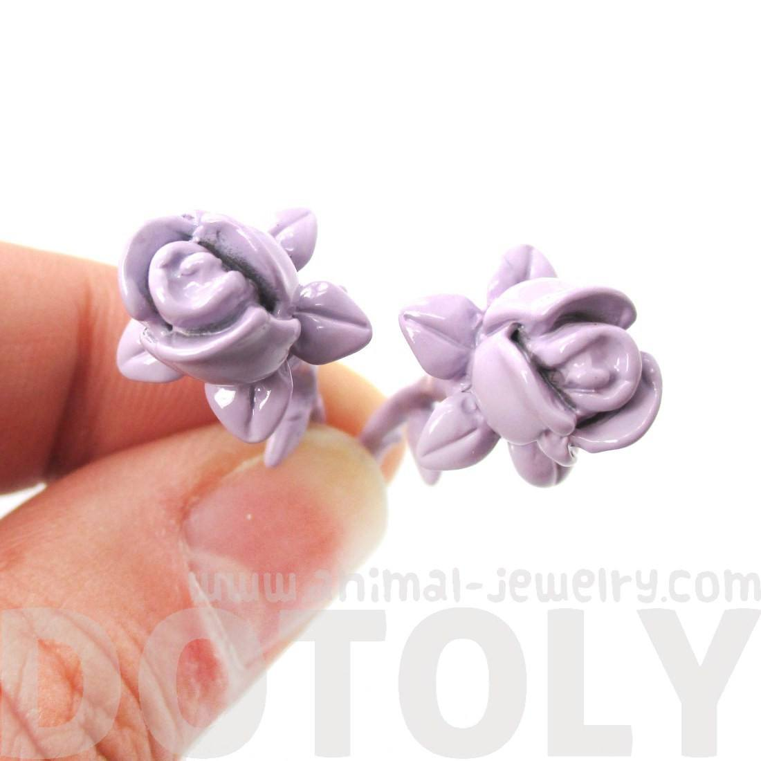 3D Rose Floral Flower Shaped Front and Back Stud Earrings in Purple