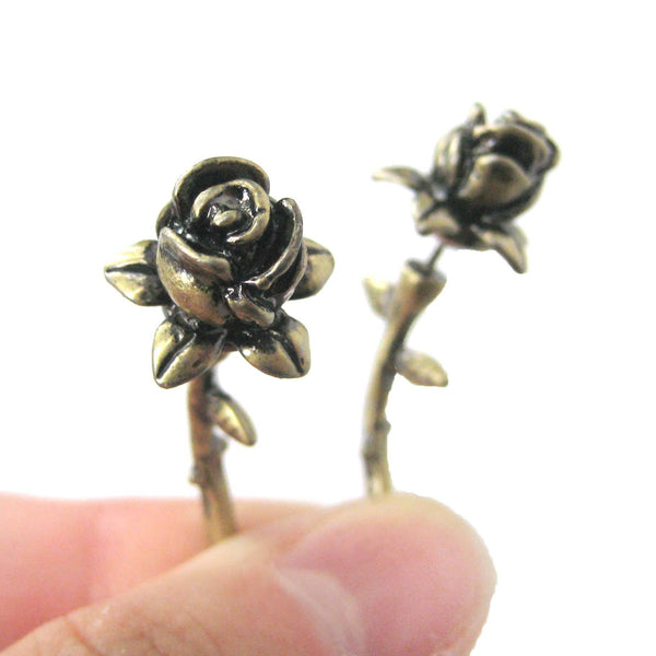 Detailed Rose Floral Flower Shaped Plug Fake Gauge Earrings in Brass