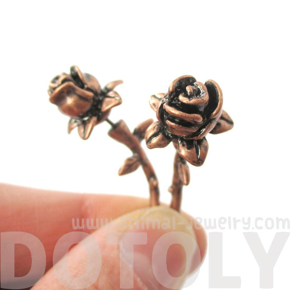 Detailed Rose Floral Flower Shaped Plug Fake Gauge Earrings in Copper
