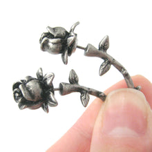 Detailed Rose Floral Flower Shaped Plug Fake Gauge Earrings in Silver