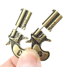 Double Pistol Gun Shaped Faux Plug Fake Gauge Stud Earrings in Brass