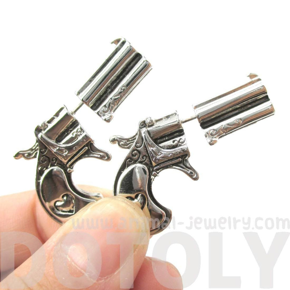 Double Pistol Gun Shaped Fake Gauge Plug Stud Earrings in Shiny Silver