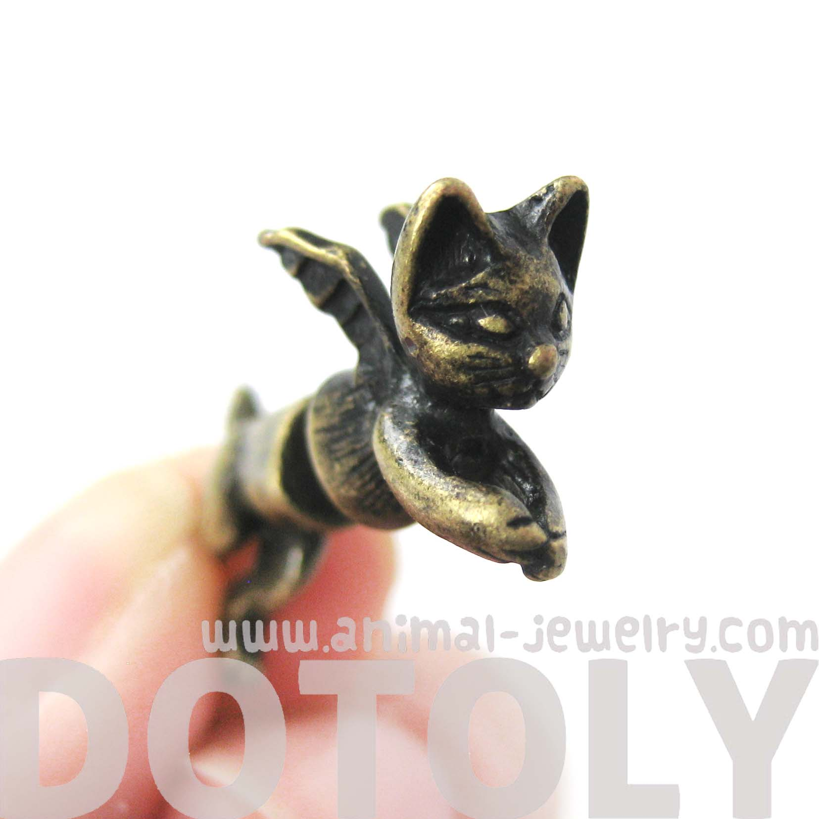 fake-gauge-earrings-kitty-cat-burglar-animal-shaped-plug-earrings-with-wings-in-brass