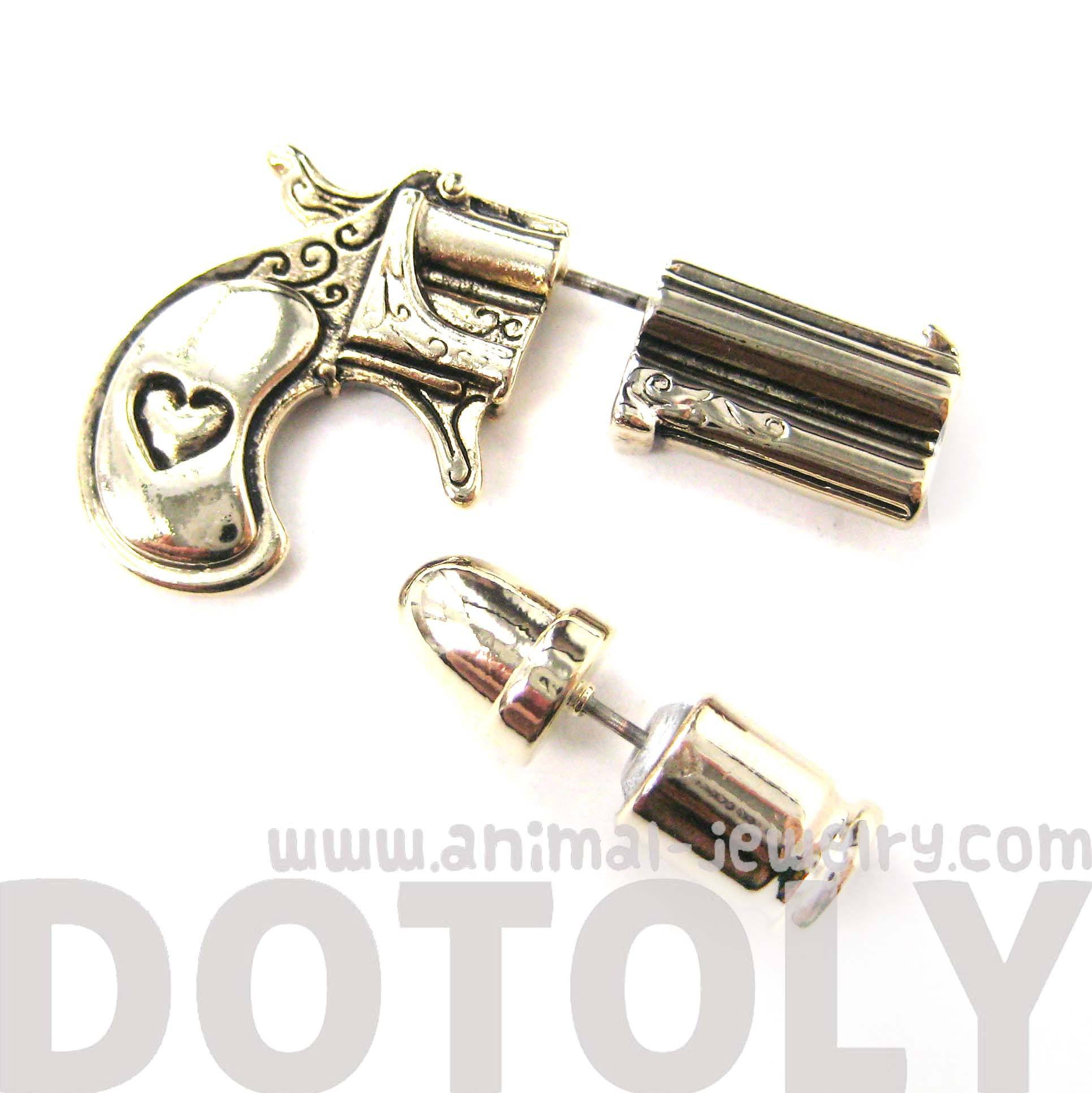 fake-gauge-earrings-gun-pistol-and-bullet-shaped-faux-plug-stud-earrings-in-shiny-gold