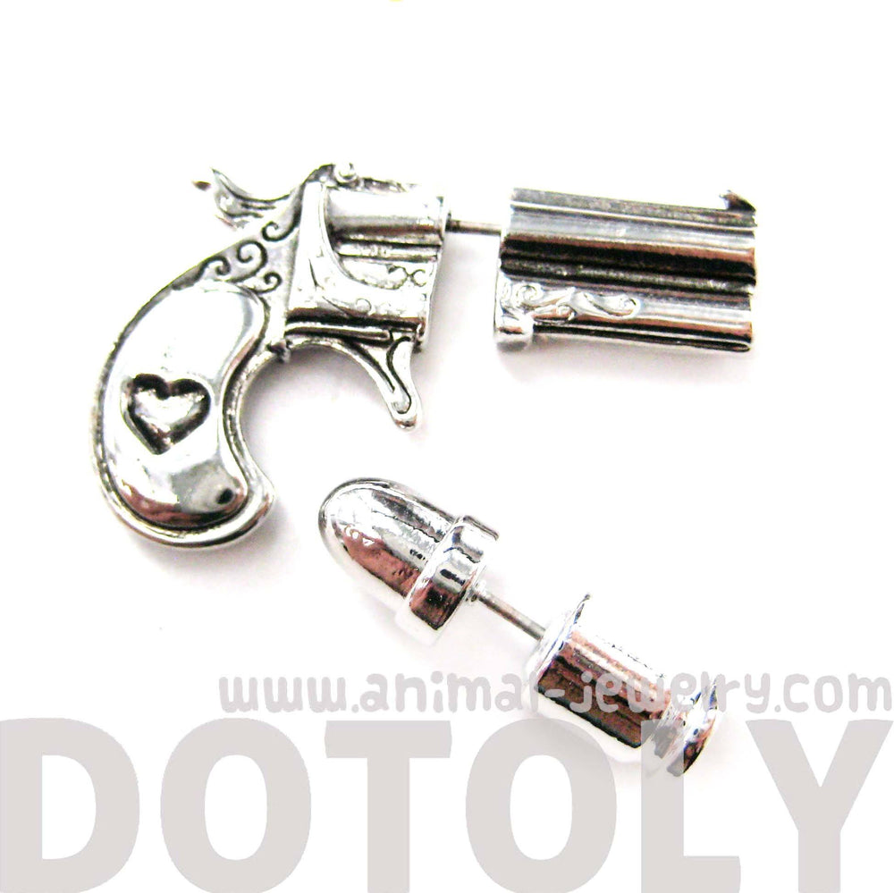 fake-gauge-earrings-gun-pistol-and-bullet-shaped-faux-plug-stud-earrings-in-shiny-silver