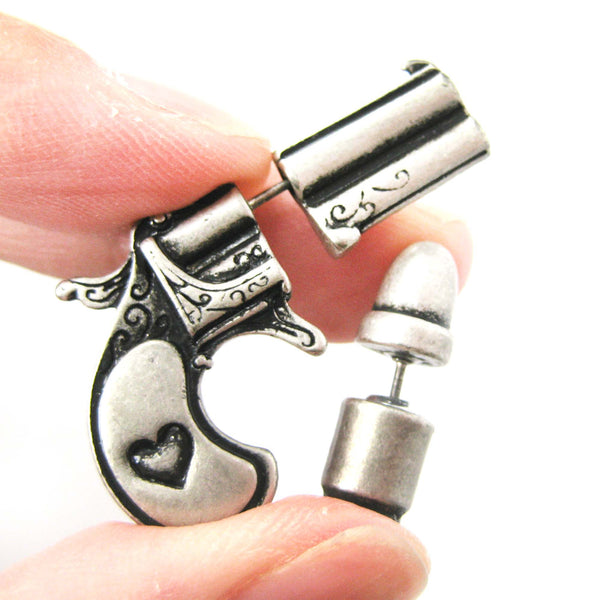 fake-gauge-earrings-gun-pistol-and-bullet-shaped-faux-plug-stud-earrings-in-silver