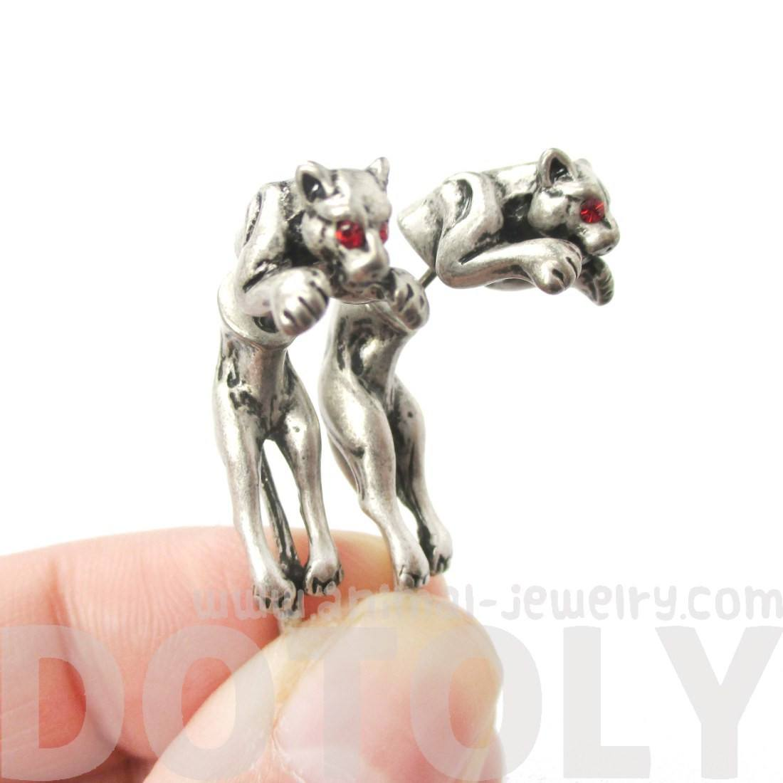 Jaguar Leopard Wild Cat Shaped Front and Back Stud Earrings in Silver