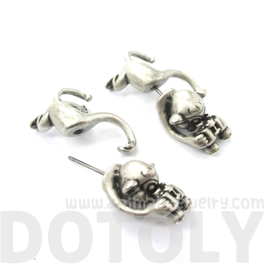 Monkey with Binoculars Curious George Shaped Stud Earrings in Silver