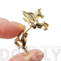 Mythical Unicorn Animal Front and Back Stud Earrings in Shiny Gold